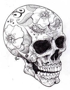 ♠ Day of the Dead Skull. Sugar Skull Designs. #skull #dead