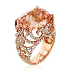 Here is one of the winners of the 2014 Jewelers' Choice Awards: It's called the Baroness ring and is set in rose gold, featuring ct. morganite and cts. brilliant-cut diamonds, by Yael Designs. Dainty Jewelry, Pandora Jewelry, Cute Jewelry, Boho Jewelry, Jewelery, Jewelry Accessories, Fashion Jewelry, Jewelry Design, Jewelry Box
