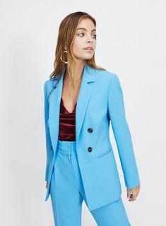 190f24f8171 Womens PETITE Blue Multi Button Blazer