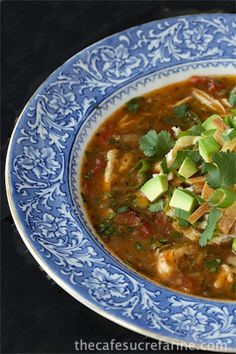 *****Chicken Tortilla Soup thecafesucrefarine.com add corn and black beans- added at least 4 cups water because it was so spicy but turned out great in the end!