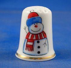 Porcelaine anglaise de collection avec dé à coudre en porcelaine Motif bonhomme de neige de Noël
