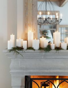 WSH loves a simple elegant mantel that mixes fresh evergreens and plenty of candles. Via Verdigris Vie. WSH loves a simple elegant mantel that mixes fresh evergreens and plenty of… Christmas Mantels, Christmas Holidays, Christmas Decorations, Holiday Decorating, Simple Christmas, Fireplace Decorations, Decorating Ideas, Xmas, Christmas Fireplace