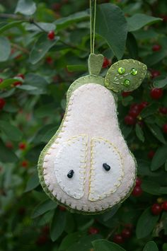 """Felt Pear for """"A Partridge in a Pear Tree"""" Ornament Set"""