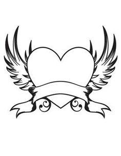 Heart With Wings Drawings Pencil Art Drawings, Art Drawings Sketches, Easy Drawings, Tattoo Drawings, Heart Coloring Pages, Adult Coloring Pages, Coloring Books, Colouring, Heart With Wings Tattoo