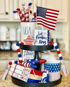 Use these tiered tray décor ideas for of July to ace up the festive spirit in your house. Discover a galore full of tiered tray patriotic décor tips and hacks now. Farm Kitchen Ideas, Kitchen Decor Sets, Pig Kitchen, Country Kitchen, Fourth Of July Decor, 4th Of July Decorations, July 4th, Target Dollar Spot, Tips And Tricks