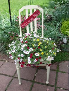 Chair Planter made by Rose M Flower Planters, Garden Planters, Flower Pots, Chair Planter, Old Chairs, Dining Chairs, Garden Fencing, Garden Chairs, Garden Projects