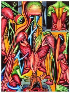 """Biological Fusion"" from my anatomy art drawing collection in colored pencil."