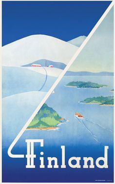 Come to Finland - Wonderful Finnish Vintage Posters. This one is designed by Erkki Hölttä