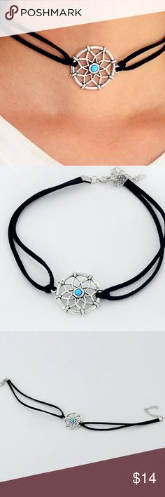 Trendy Boho Choker & Hipster Dream Catcher Charm Trendy Boho Dream Catcher Charm Choker! Chokers are an absolute must have this fall! Combine it with this bohemian dream catcher charm and you'll be surrounding yourself with Good Vibes all day! 💖 Material: Vegan Leather, silver plated zinc alloy & Faux turquoise stone! Size & Measurements see photo 4 Jewelry Necklaces