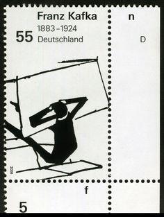 German Stamp 2008 - 125th Anniversary of Franz Kafka's birth (1883-1924) by Alfredo Liverani