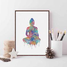 Original Watercolor Buddha Portrait Zen A4 Large Art Prints Poster Abstract…
