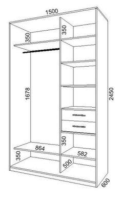 Medidas Closet básico 150x245x60 cm