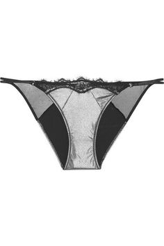 Elle Macpherson Body - Slick Lace And Mesh-trimmed Stretch-satin Briefs - Silver - medium