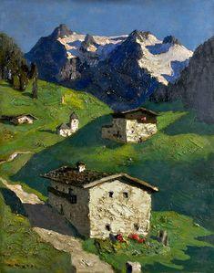 Frühling in Tirol - Alfons Walde Landscape Art, Landscape Paintings, Oil Paintings, Berg Illustration, Illustrations, Kunst Online, Ski Posters, Watercolor Pictures, Amazing Paintings