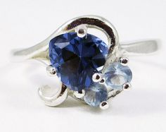 Sapphire and Aquamarine Ring - Sterling Silver