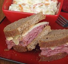 Pastrami and swiss on rye bread