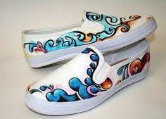 resultado de la imagen de zapatillas pintadas a mano Diseños