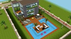 #Sims FreePlay Beach house backyard original design