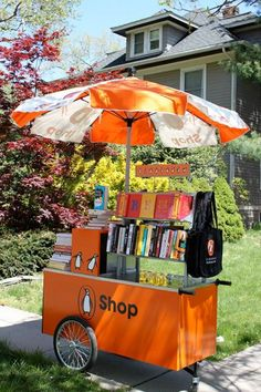 @Tiffany Hughes Books book cart — inspired by a hot dog vending cart