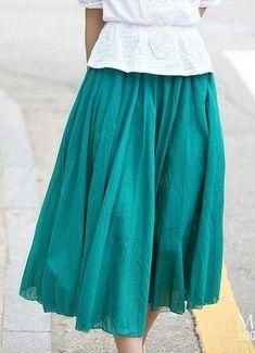 a65369271d7 New Bohemian Pleated Skirt Big Lap Long Maxi Beach Dress Elastic Waist