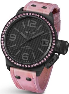 TW Steel Canteen 45mm Black Dial Crystal-Set Bezel Pink Leather Ladies Watch