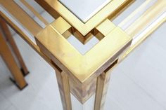 Lucite and Gold Brass Console and Mirror by Romeo Rega 1960-70