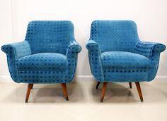 Blue Velvet Armchairs | Mid Century Modern