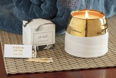 La Nuit Unique gift box ethically made by artisans in the U. Socially responsible gift sets for fr Soy Candles, Candle Jars, Thoughtful Gifts For Her, Cool Things To Make, Artisan, Relaxation Room, Cozy, Care Packages, Gift Sets