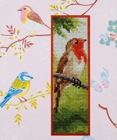 Bookmark with a bird embroidered on plastic canvas. A 'Vervaco' cross stitch Bookmark kit. Xmas Cross Stitch, Cross Stitch For Kids, Cross Stitch Love, Cross Stitch Bookmarks, Cross Stitch Books, Cross Stitch Needles, Beaded Cross Stitch, Cross Stitch Animals, Cross Stitch Charts