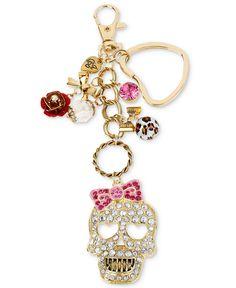 Betsey Johnson Key Chain, Gold-Tone Dangling Skull Charm Key Chain - Fashion Jewelry - Jewelry & Watches - Macy's