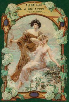 A La Dame Blanche French Nouveau France Vintage Advertisement Art Poster Vintage Ephemera, Vintage Ads, Vintage Posters, Decoupage, Art Nouveau Poster, Academic Art, Commercial Art, Alphonse Mucha, Ad Art