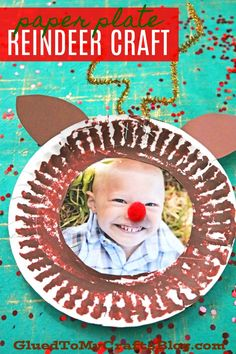 Paper Plate Reindeer Frame - Kid Craft For Christmas Preschool Christmas, Toddler Christmas, Christmas Activities, Christmas Themes, Kids Christmas, Winter Crafts For Kids, Easy Crafts For Kids, Toddler Crafts, Fun Crafts