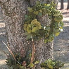 Natural Greens with Moss Mixed Wreath