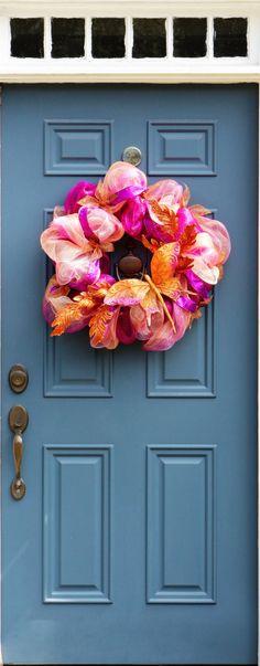 Fall Decoration, Fall Door Decor, Outdoor Wreath, Wreath Butterfly, Plum Orange…