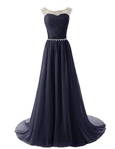 []  Dressystar Chiffon Beads Bridesmaid Dresses Long Prom Dress Party Gowns Size 12 Navy []---