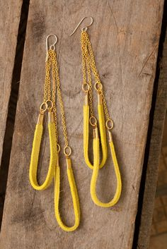 long Chartreuse double horseshoe leather earrings by heidiroland
