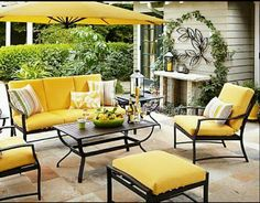 Love this outdoor living room! Someday we'll have the french doors leading out from our family room to a patio under the walnut tree. maybe even an outdoor fireplace! Outdoor Furniture, Decor, Outdoor Patio Furniture, Outdoor Decor, Furniture, Meridian Furniture, Outdoor Living, Outdoor Living Furniture, Outdoor Furniture Sets