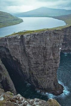 Lake Sorvagsvatn, Faroe Islands 30m above the Ocean