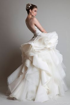 krikor jabotian couture 2014 sleeveless wedding dress illusion back