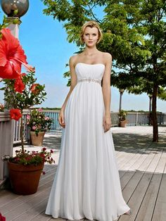 2013 Best Selling Sassy Sheath Strapless Beads Working Empire Wasit Chiffon Sweep Train Satin Beach Wedding Dress for Brides