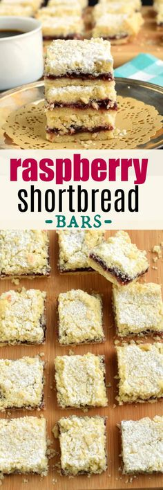 Melt in your mouth, Raspberry Shortbread Bars with a delicious crumble on top! You'll love how easy these are to make, and every LOVES them! Cookie Brownie Bars, Cookie Desserts, Sweet Desserts, Cookie Recipes, Best Dessert Recipes, Fruit Recipes, Holiday Recipes, Delicious Desserts, Recipies