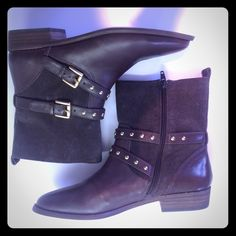Coach ankle boots in brown suede and leather Coach ankle boots in brown suede and leather. Straps have gold tone buckles and studs. Man made lining and soles. Inside zipper. Never worn and in beautiful condition. Coach Shoes Ankle Boots & Booties