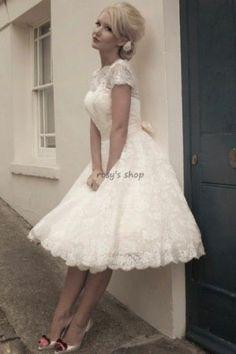 Custom Made A-line Boat Neck Short Sleeve Lace Wedding Dress Short Free Shipping