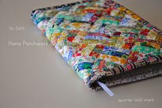 "Free pattern & tutorial @ 1/4"" mark: Liberty Print Hana Patchwork Book/Planner Cover"