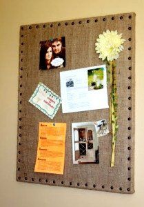 Cover corkboard with burlap... Love it! Add ribbons and cute pins!!