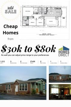 Here are few examples of great and affordable manufactured homes that we offer for sale Cheap Mobile Homes, Mobile Homes For Sale, Modular Homes, Virtual Tour, Square Feet, Dining Area, Floor Plans, Construction, Exterior
