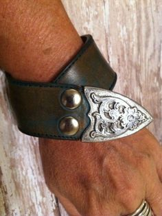 Buckle Bracelet Large Leather Bracelet OOAK handmade by dgierat Leather Art, Leather Cuffs, Leather Belts, Leather Jewelry, Metal Jewelry, Western Jewelry, Country Jewelry, Cowgirl Jewelry, Cuff Bracelets