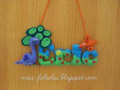 Baby name felt dinosaurs - Nombre bebe fieltro dinosaurios