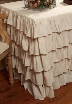 Flax Table Cloth, Ruffled Table Cloth, Table Cloth