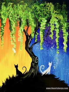 Day and Night Cats  Willow Tree Q Tip Acrylic Painting for Beginners tutorial Two Different Worlds willow Tree  painted with Cotton swabs in Acrylic Paint on Canvas Step by step tutorial. Anyone can do this  Daytime and Nighttime tree really easily. For the Traceable and Webpage ~ Day night Cats hhttps://theartsherpa.com/TAS170722.01